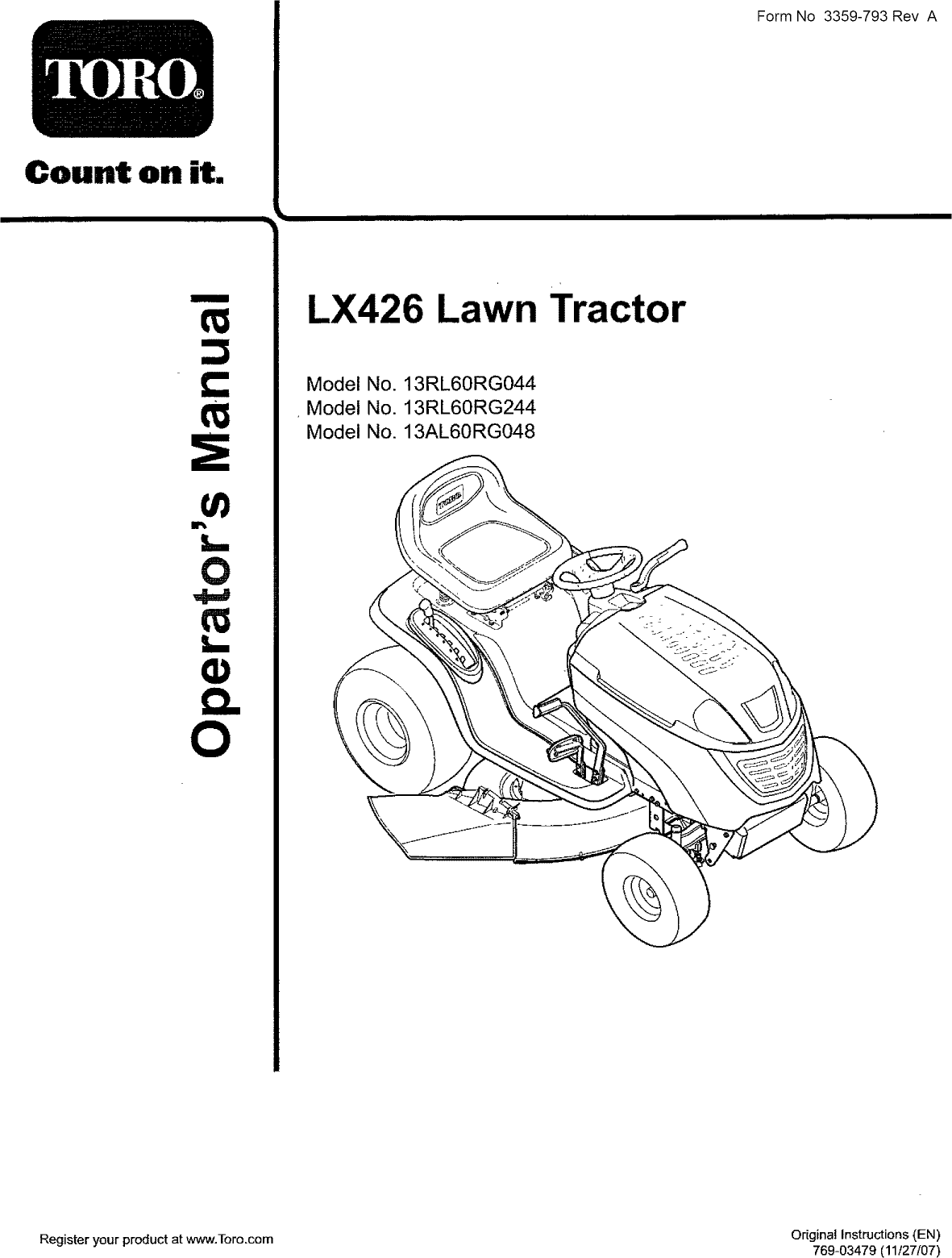 Toro 13AL60RG044 (1L107H10100 AND UP) User Manual LAWN