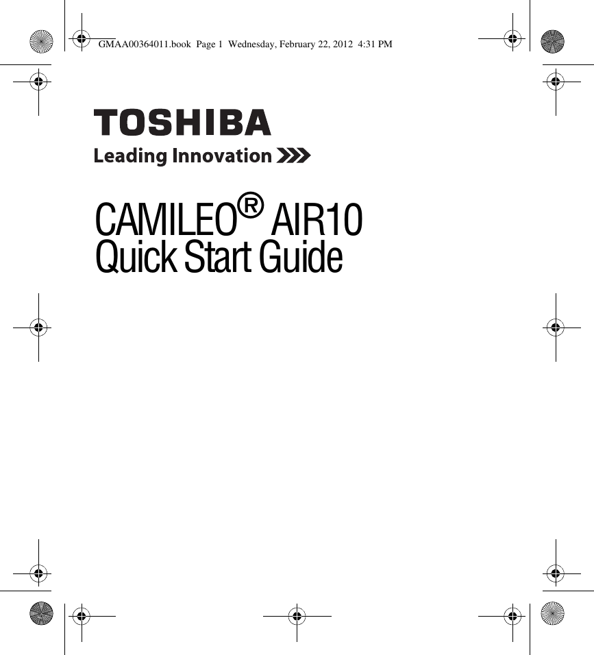 Toshiba Camileo Air 10 Quick Start Manual GMAA00364011