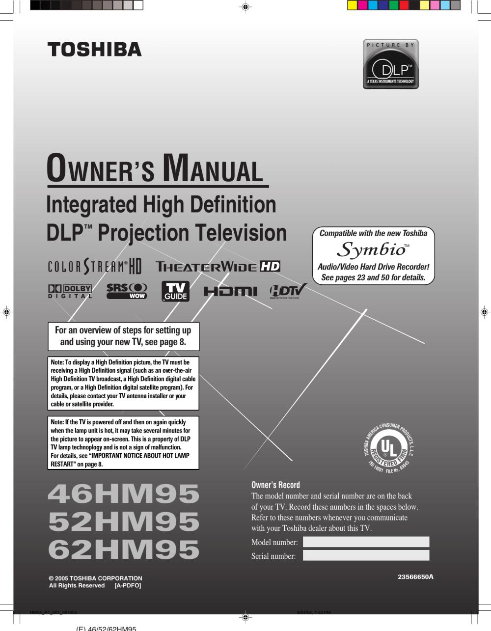 medium resolution of toshiba dlp 52hm95 users manual