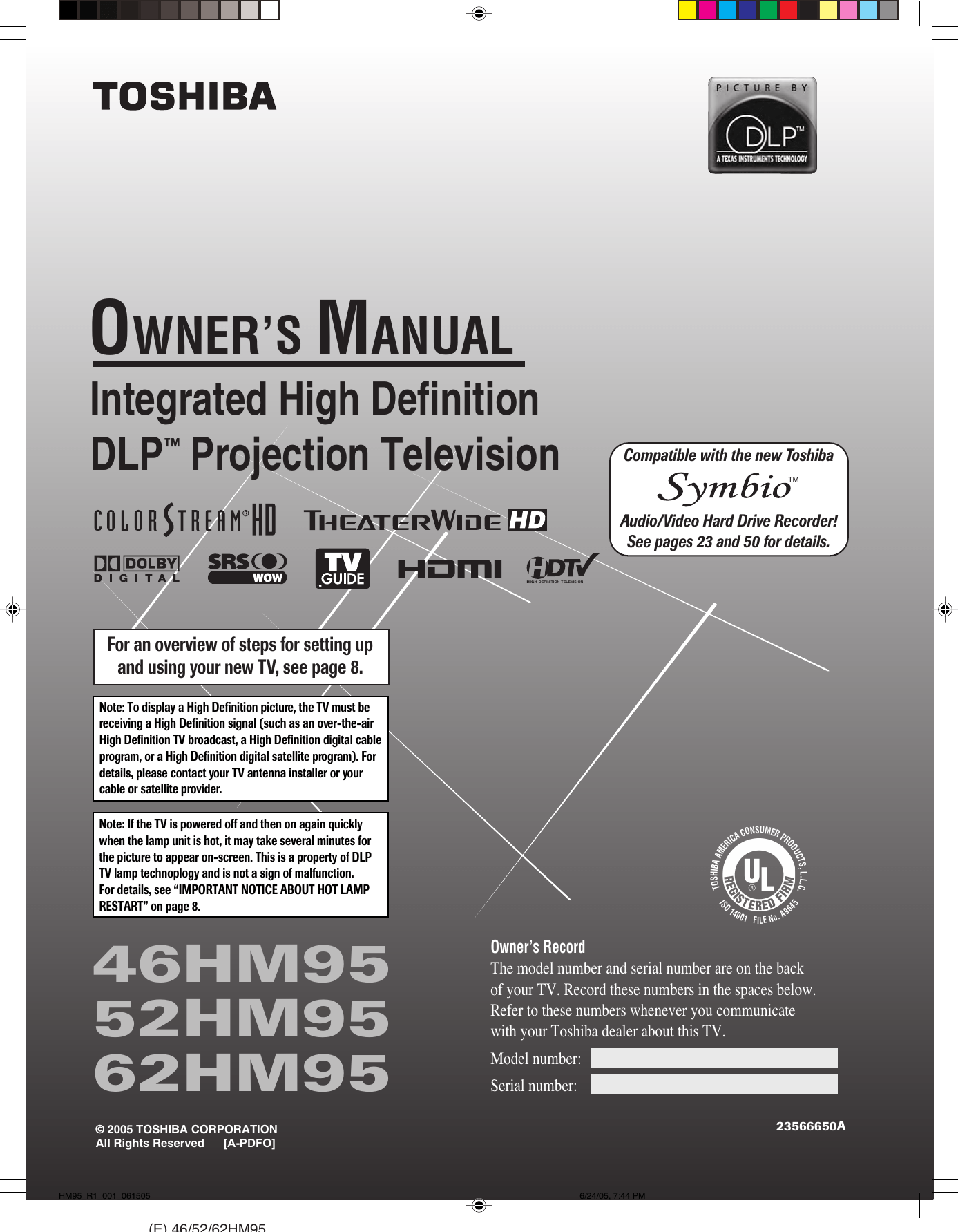 hight resolution of toshiba dlp 52hm95 users manual