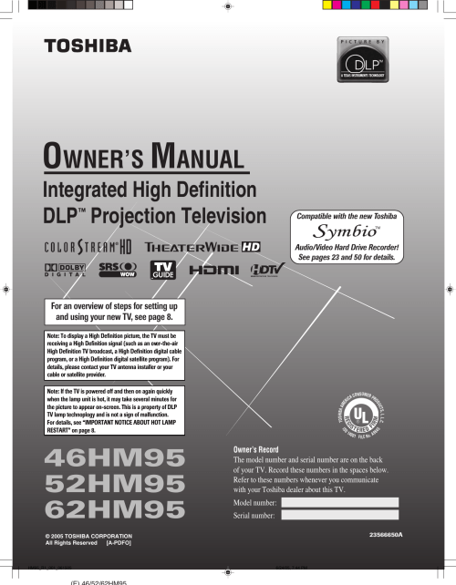 small resolution of toshiba dlp 52hm95 users manual