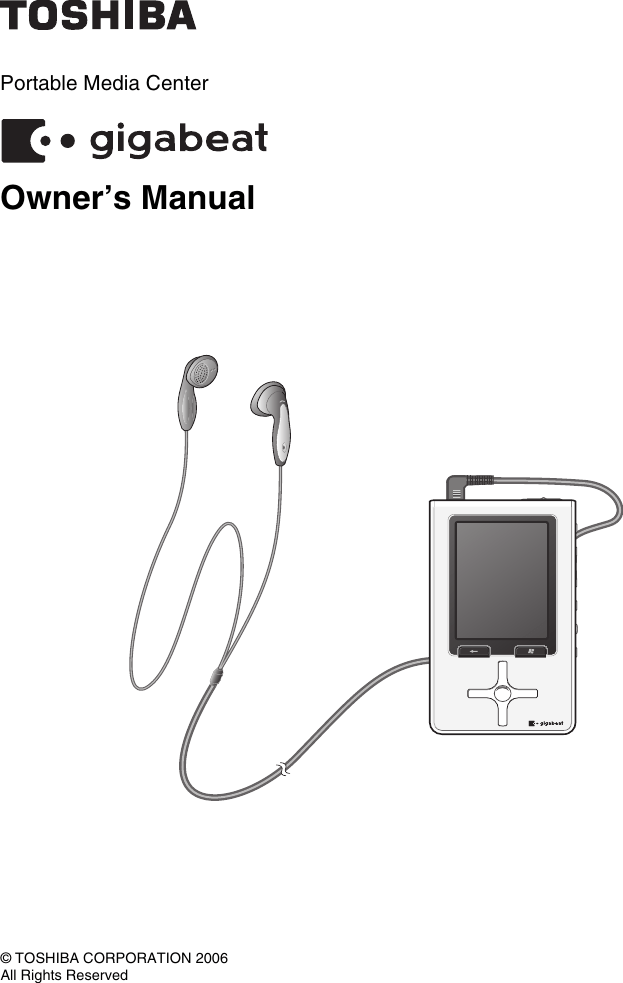 Toshiba Portable Mp3 Player Owners Manual Gigabeat Owner's