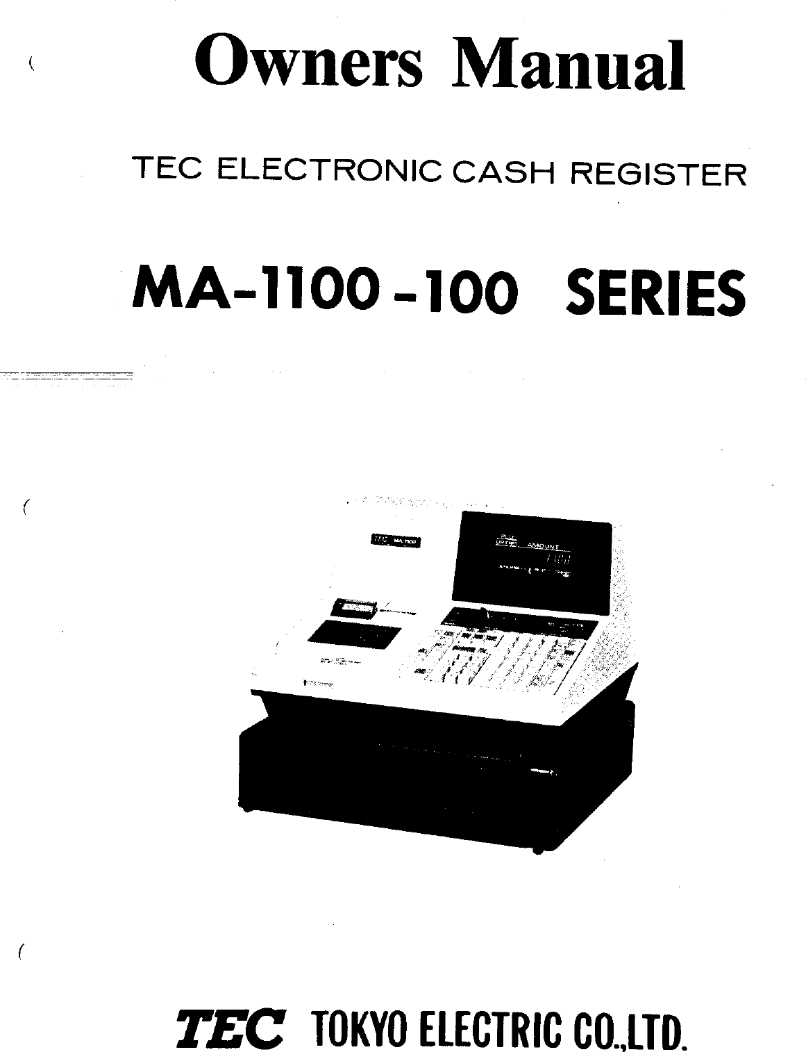 Toshiba Tec Ma 1100 100 Series Owners Manual Owner's (E1