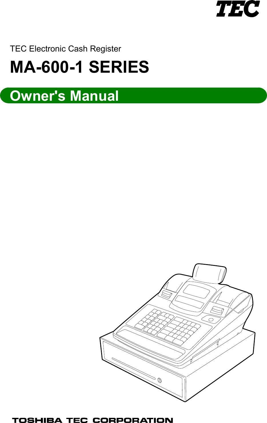 Toshiba Tec Ma 600 1 Users Manual Owner's (EO1 11155A