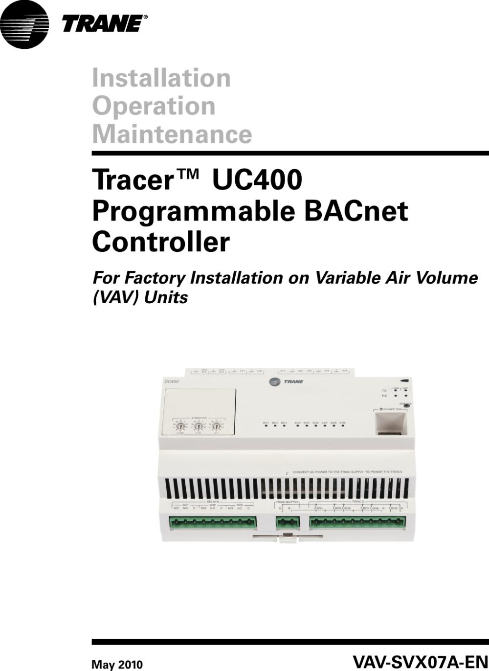 medium resolution of trane round in out installation and maintenance manual vav svx07a en uc400 iom