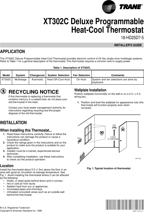 small resolution of engage tabs at the top of the thermostat next xt302c newest hi tech trane trane xt302c installer s manual side refrigerator wiring diagram trane wiring