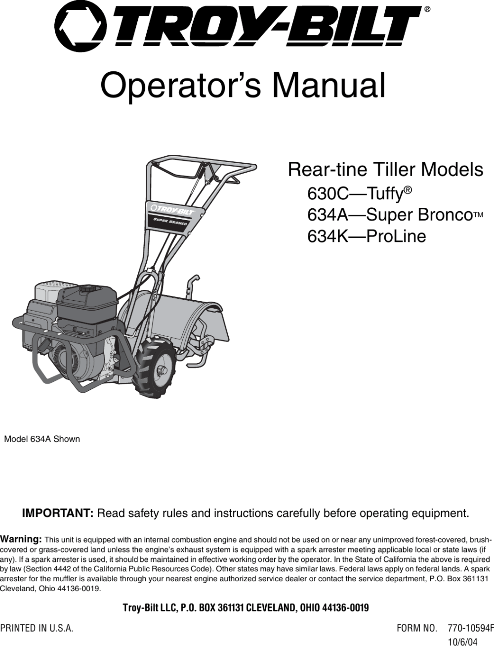 medium resolution of troy bilt 634k proline users manual 770 10594f starter rope troy bilt tiller diagram