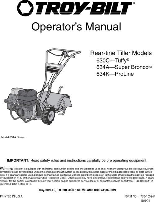 small resolution of troy bilt 634k proline users manual 770 10594f starter rope troy bilt tiller diagram