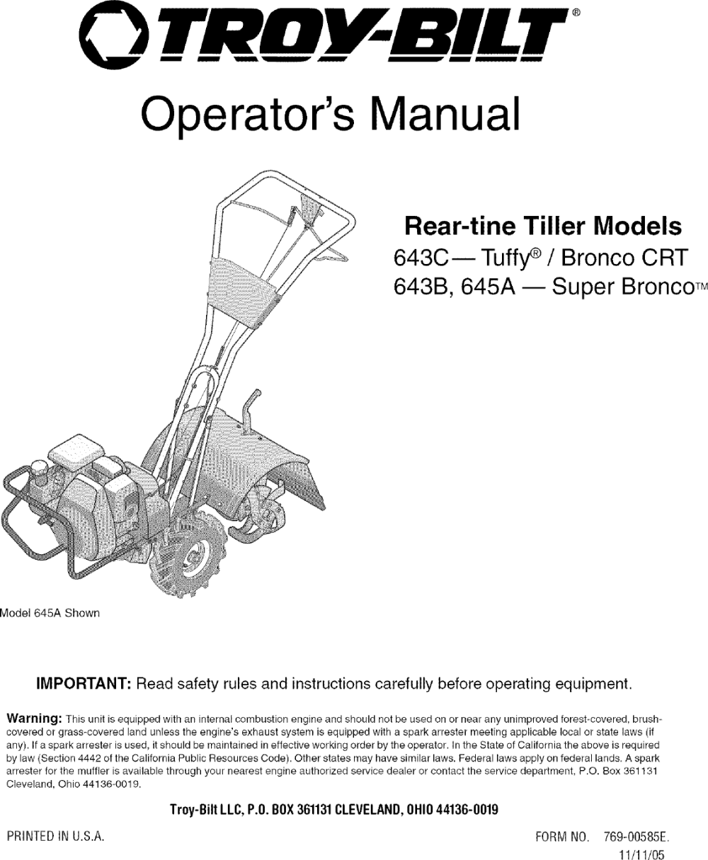 medium resolution of troybilt 21a 643b711 user manual rear tine tiller manuals and guides l0601227