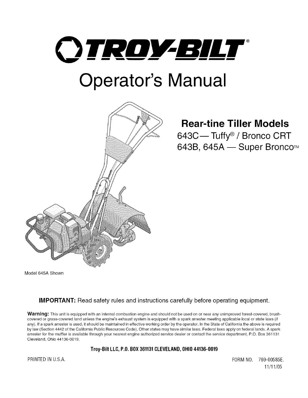hight resolution of troybilt 21a 643b711 user manual rear tine tiller manuals and guides l0601227