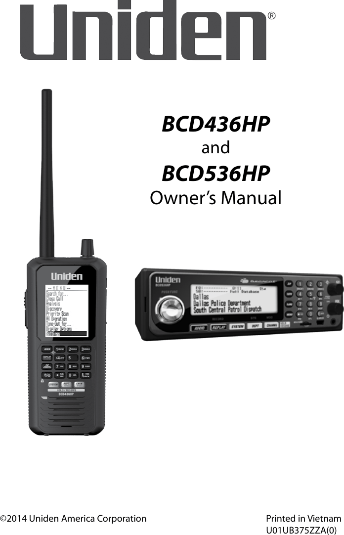 Uniden Bcd436Hp Owners Manual