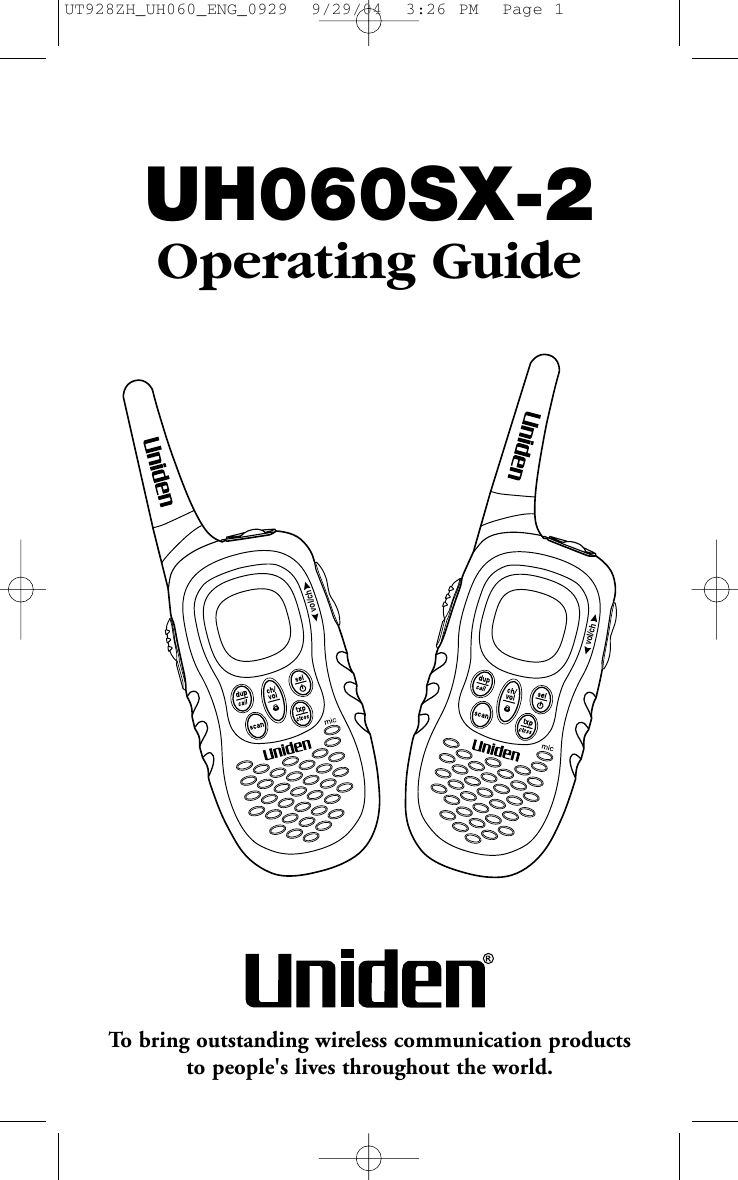Uniden Uh060Sx 2 Users Manual