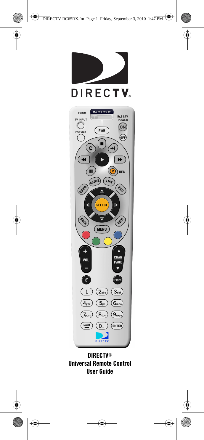 Universal Electronics 2993 DirectV RC 65RX CG 2010 Remote