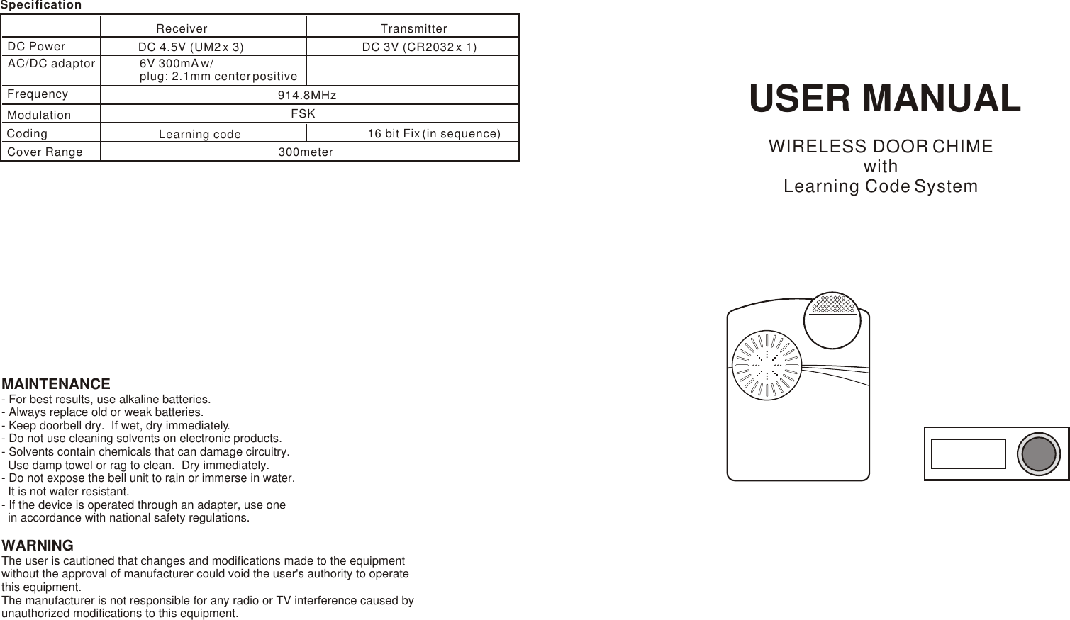 Venture Global DCX-800 Wireless Door Chime User Manual
