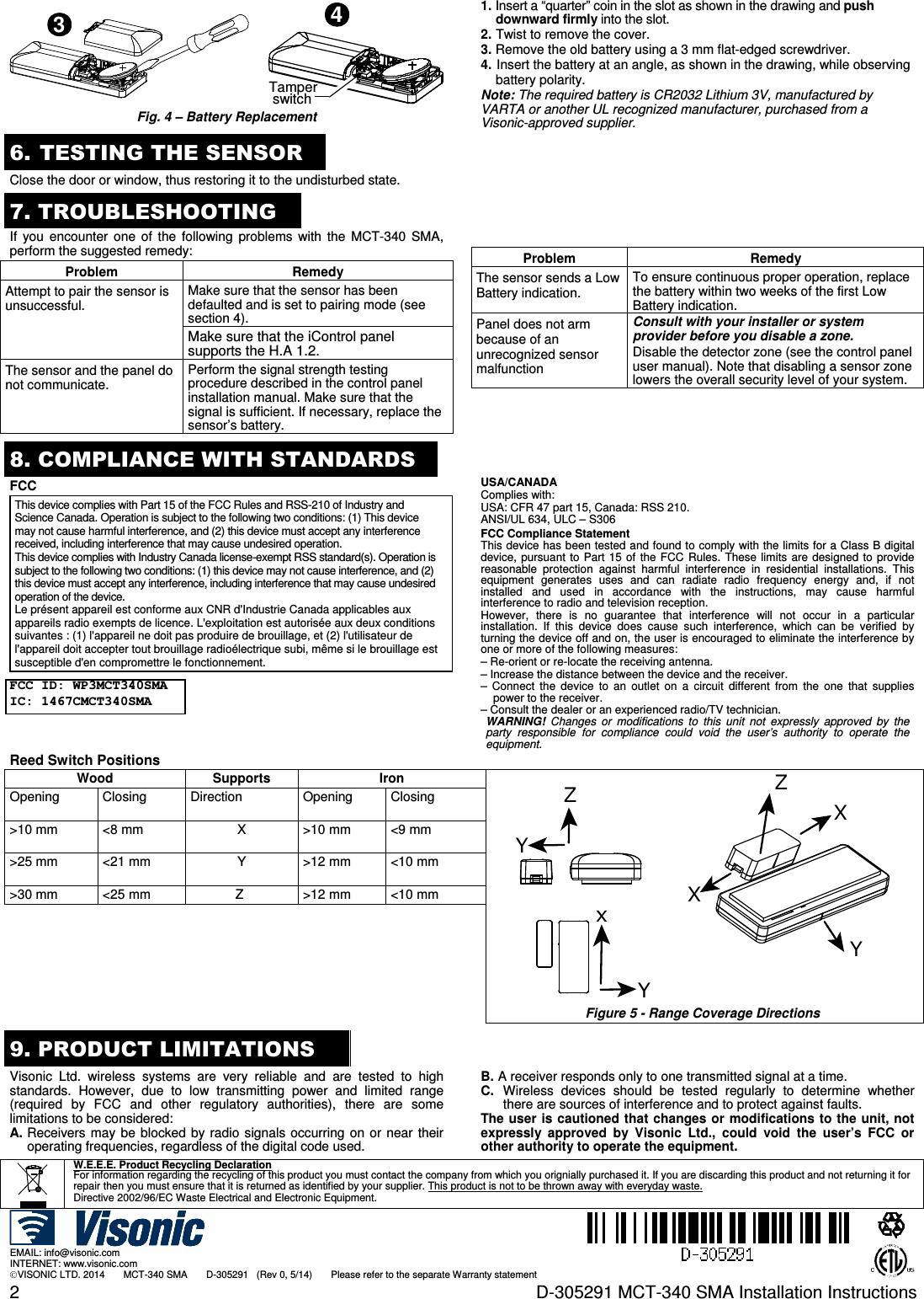 Visonic MCT340SMA WIRELESS CONTACT SENSOR User Manual D