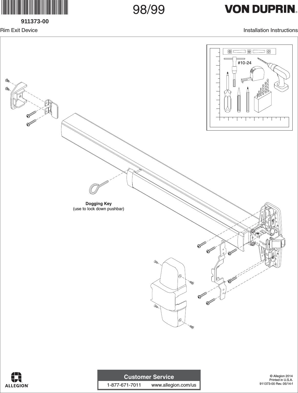 Von Duprin 911373 f 98/99 Rim Installation Instructions 107600