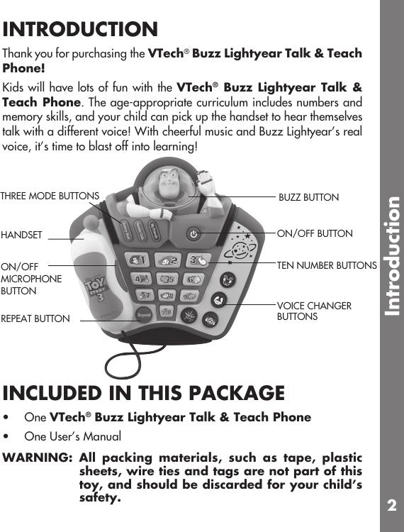 Vtech Buzz Lightyear Talk And Teach Phone Owners Manual
