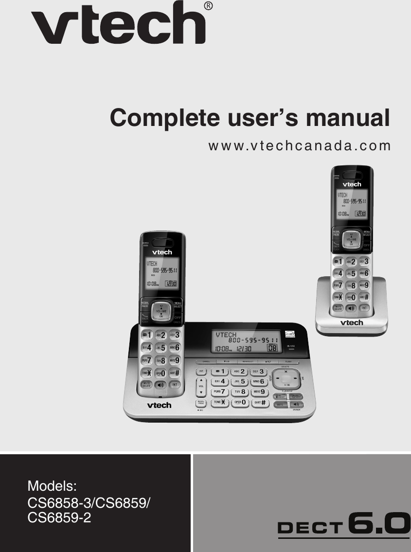 Vtech Cordless Telephone Cs6858 3 Users Manual