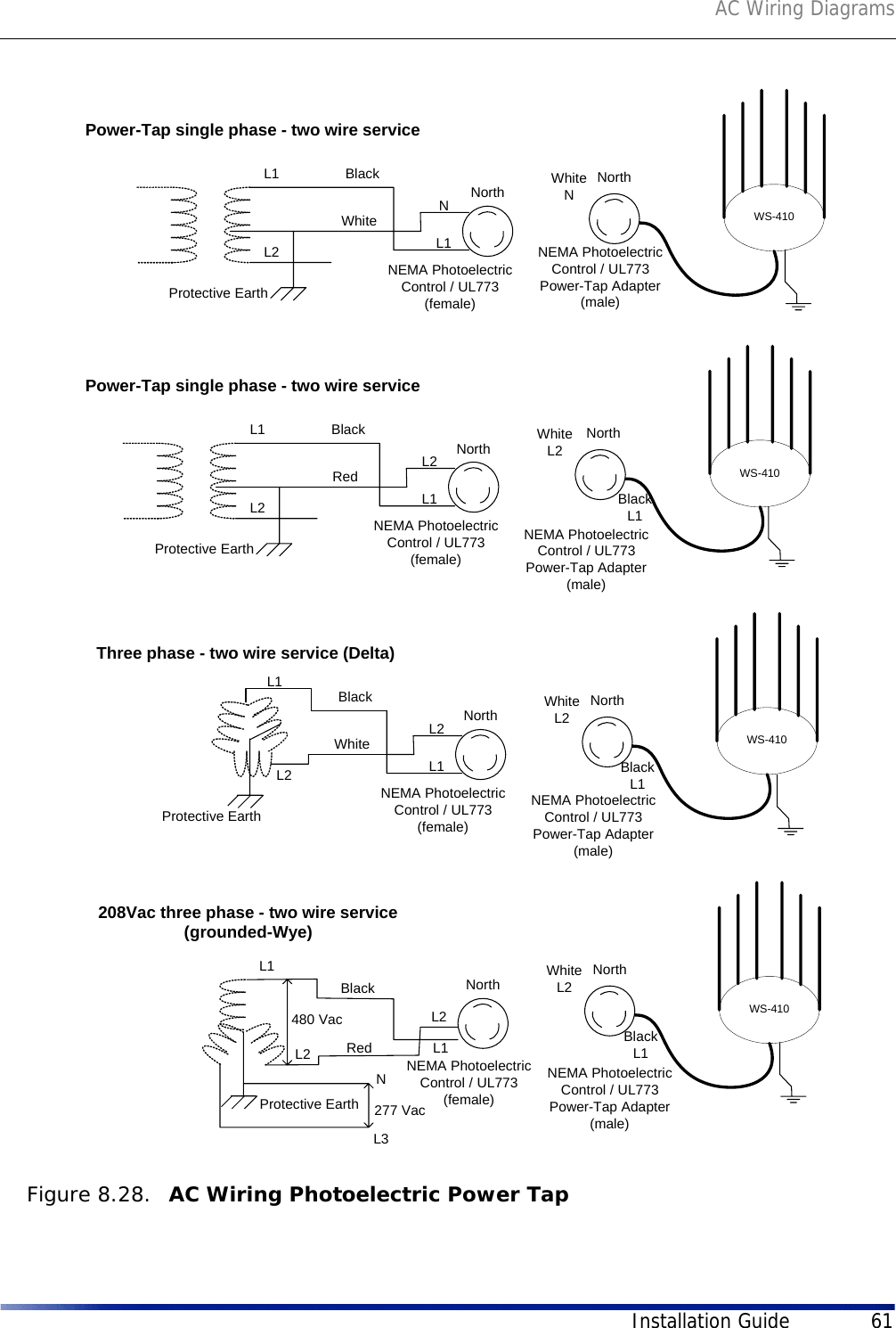 hight resolution of ac wiring diagramsinstallation guide 61figure 8 28 ac wiring photoelectric power tapl1l2protective earthblackwhite ws 410north