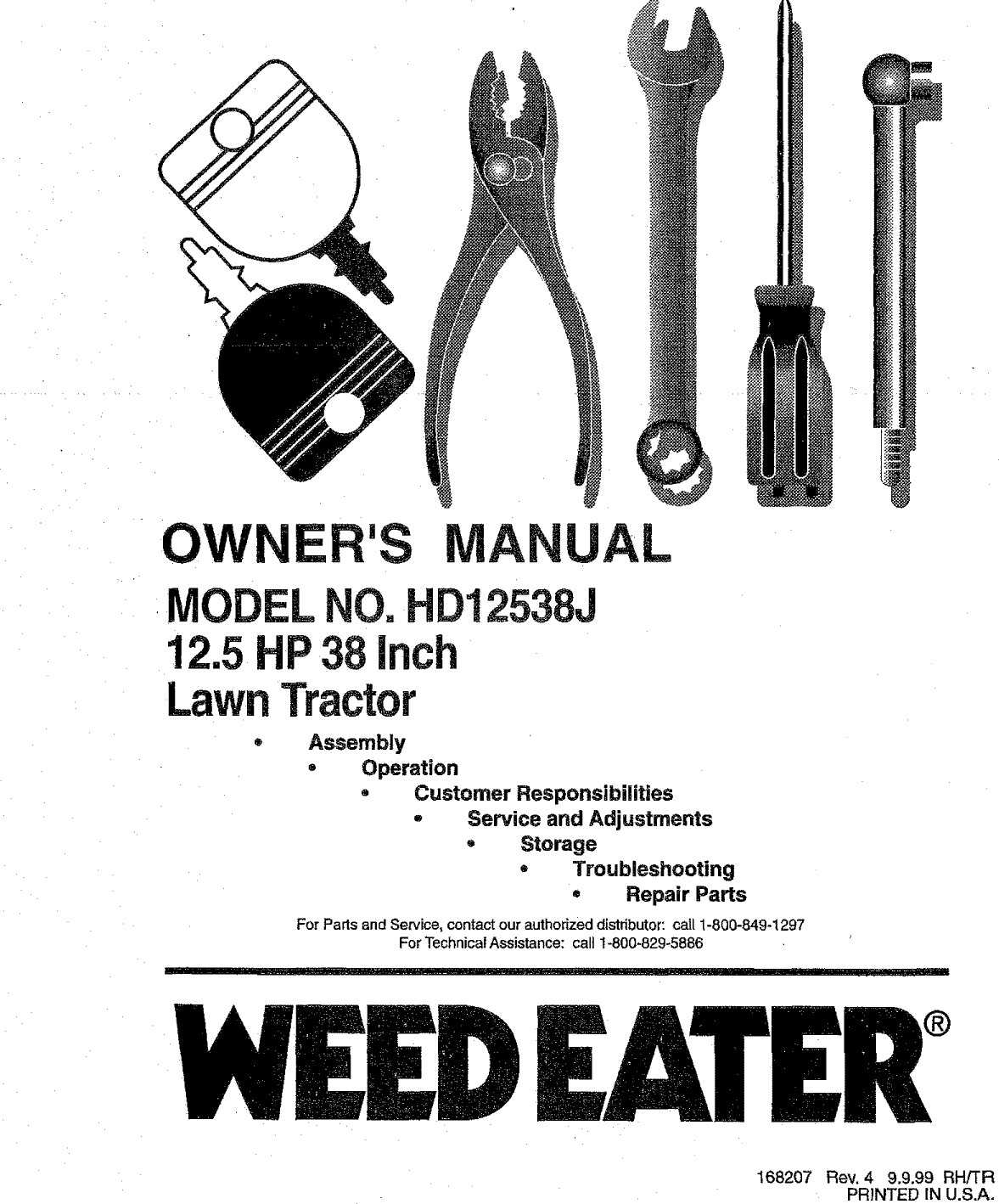Weed Eater HD12538J User Manual TRACTOR Manuals And Guides