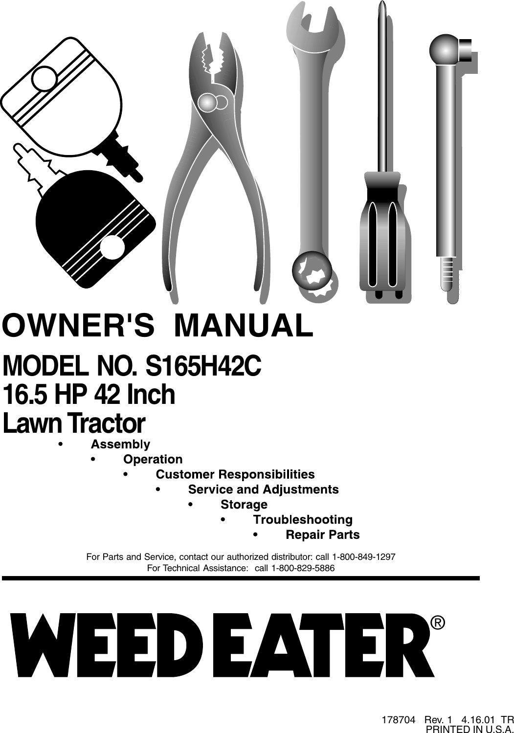 Weed Eater 178704 Owners Manual OM, S165H42C, 2001 04