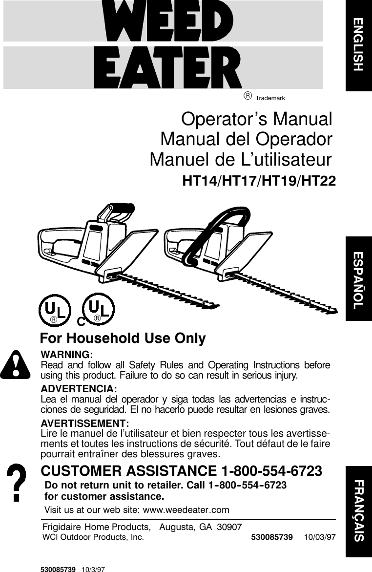 Weed Eater 530085739 Operators Manual OM, HT14, HT17, HT19