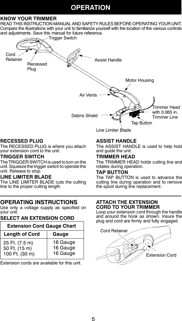 Weed Eater 545186758 Instruction Manual OM, RT110, RT112