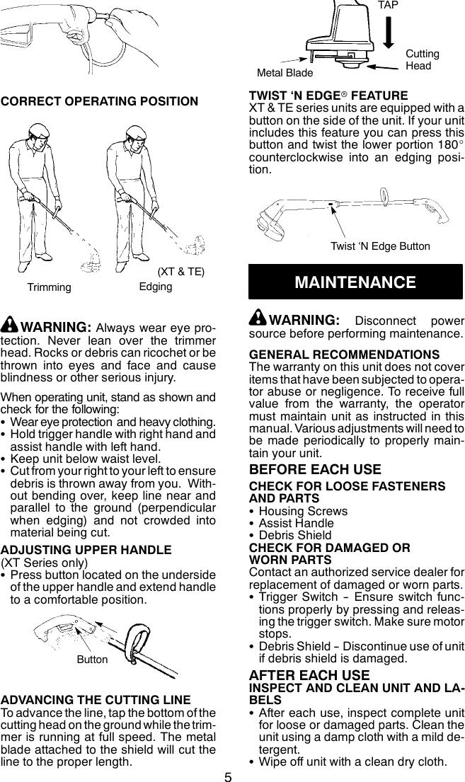 Weed Eater 545186763 Instruction Manual OM, SG10, SG11