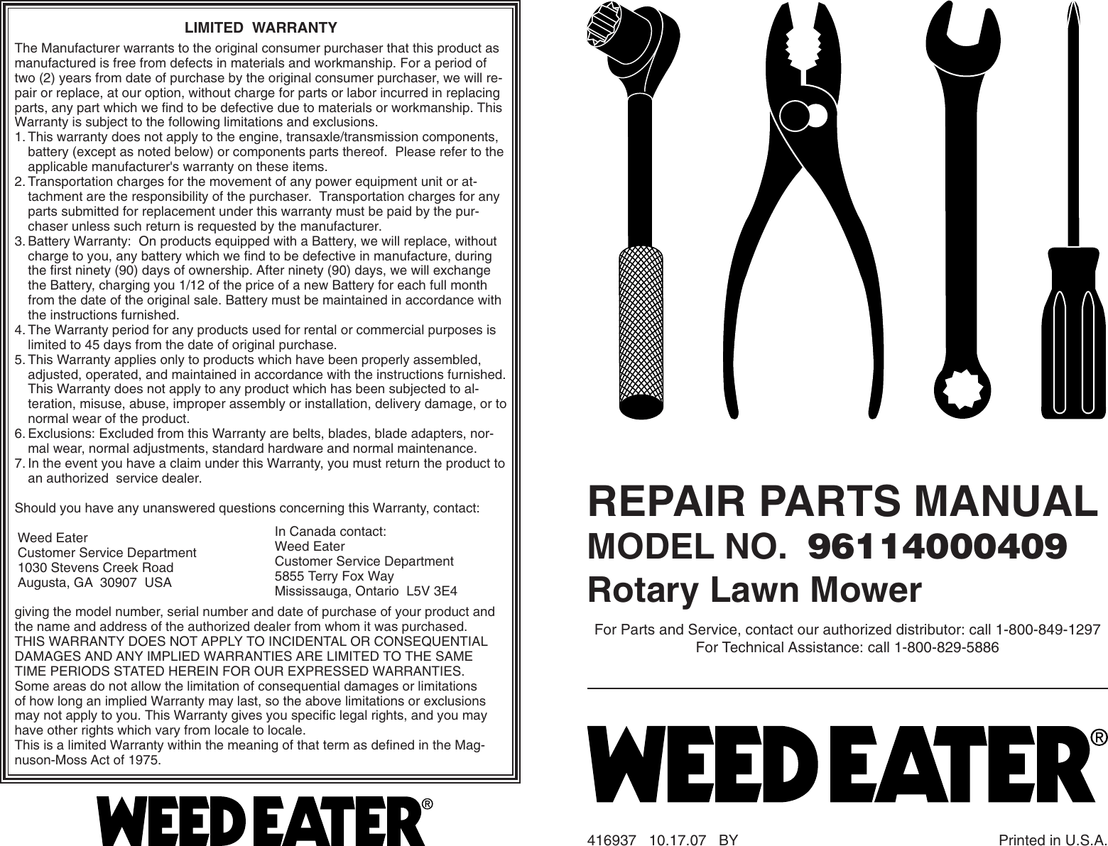 Weed Eater 96114000409 Parts List IPL, WEEDEATER