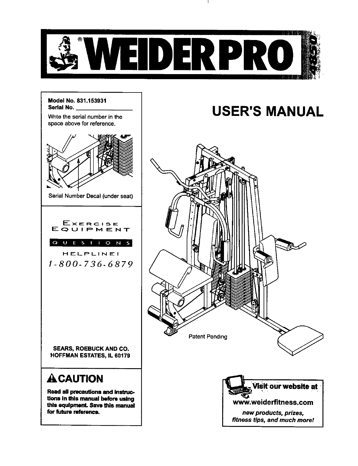 Weider 831153931 User Manual PRO 4850 Manuals And Guides