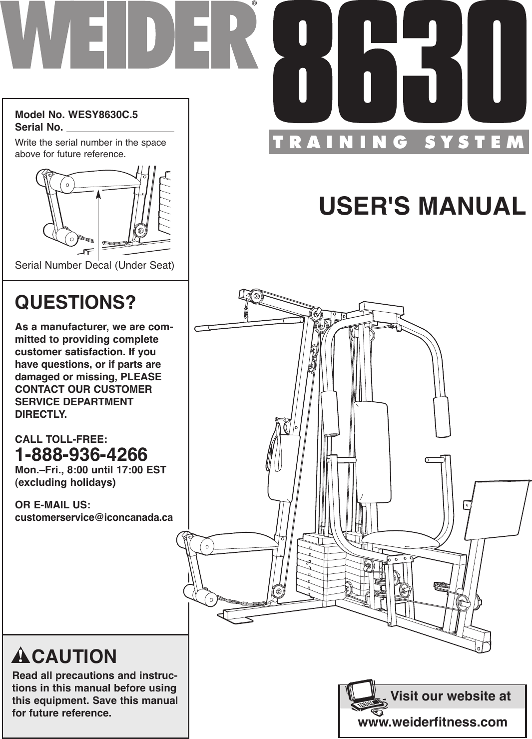 Weider 8630 Training System Wesy8630C Users Manual