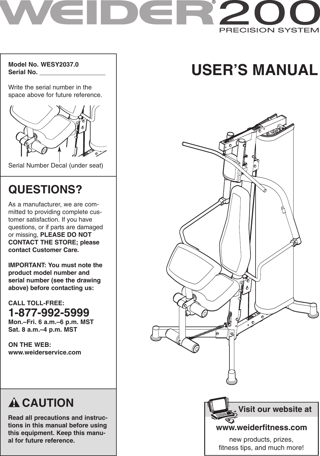Weider Precision System 200 Wesy2037 Users Manual