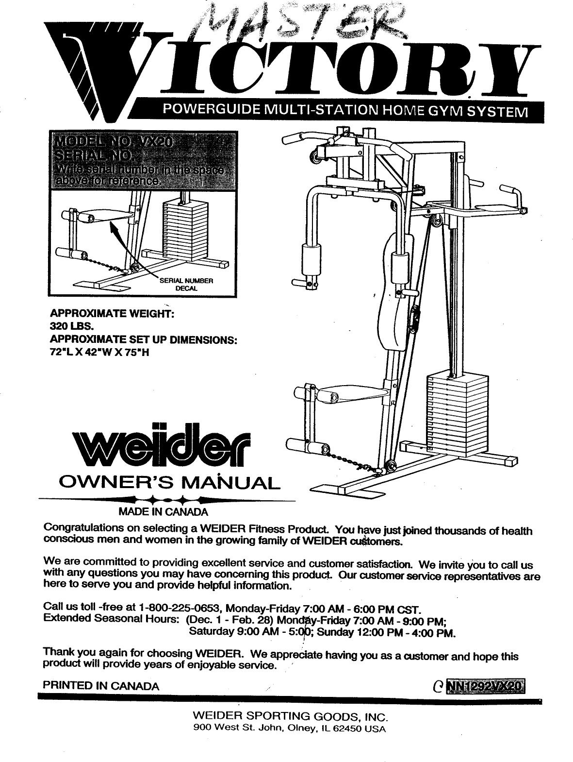 Weider Victory Powerguide System Vx20 Users Manual