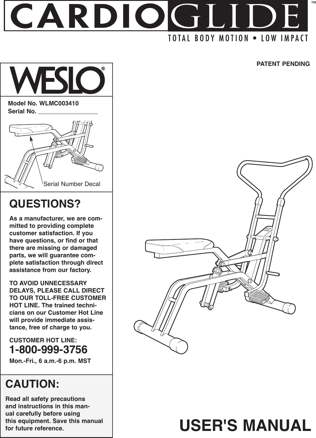 Weslo Wlmc003410 Owners Manual 285430