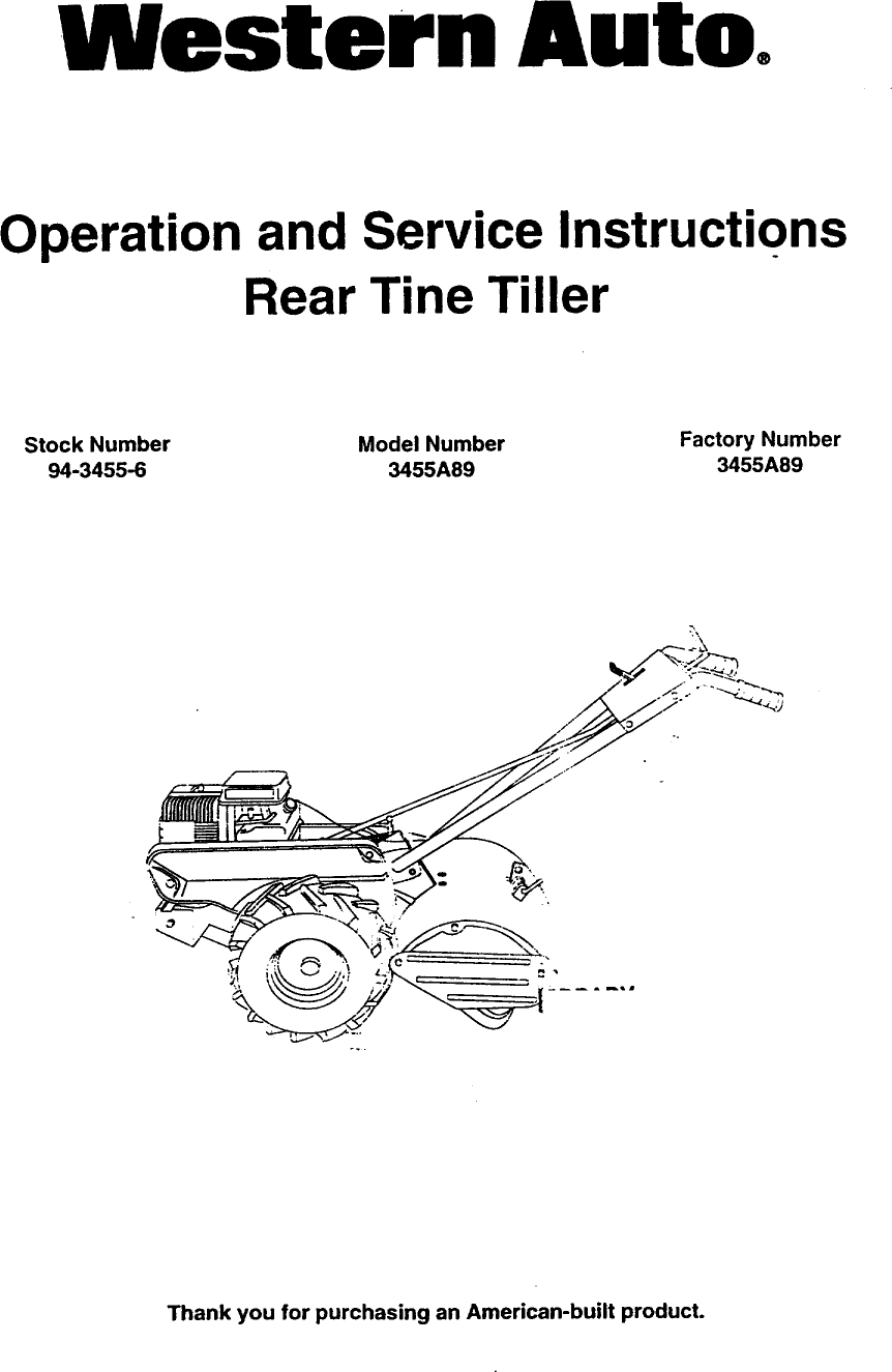 Western Auto 3455A89 User Manual REAR TINE TILLER Manuals