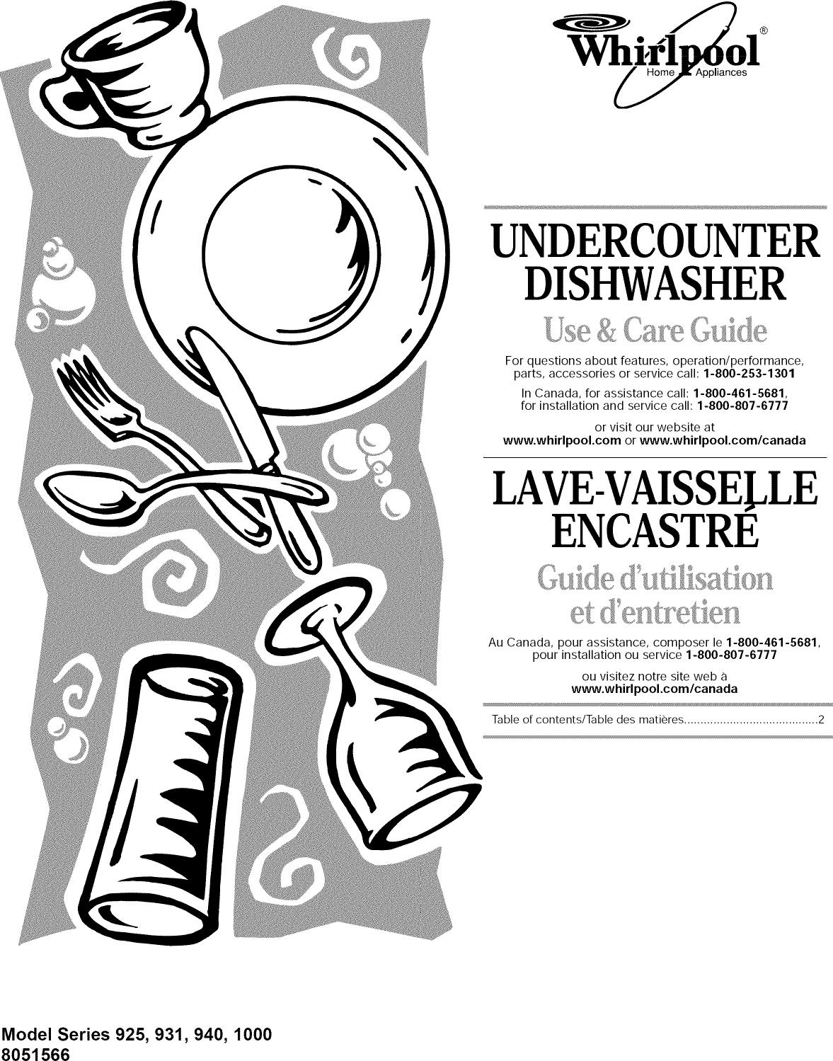Whirlpool GU940SCGB2 User Manual UNDERCOUNTER DISHWASHER