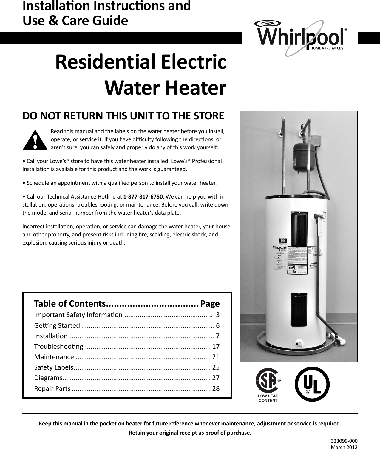 hight resolution of  whirlpool e2f40rd045v owners manual 323099 000 approved copy on whirlpool water heater parts water heater