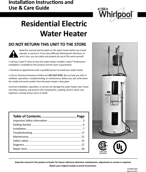 small resolution of  whirlpool e2f40rd045v owners manual 323099 000 approved copy on whirlpool water heater parts water heater