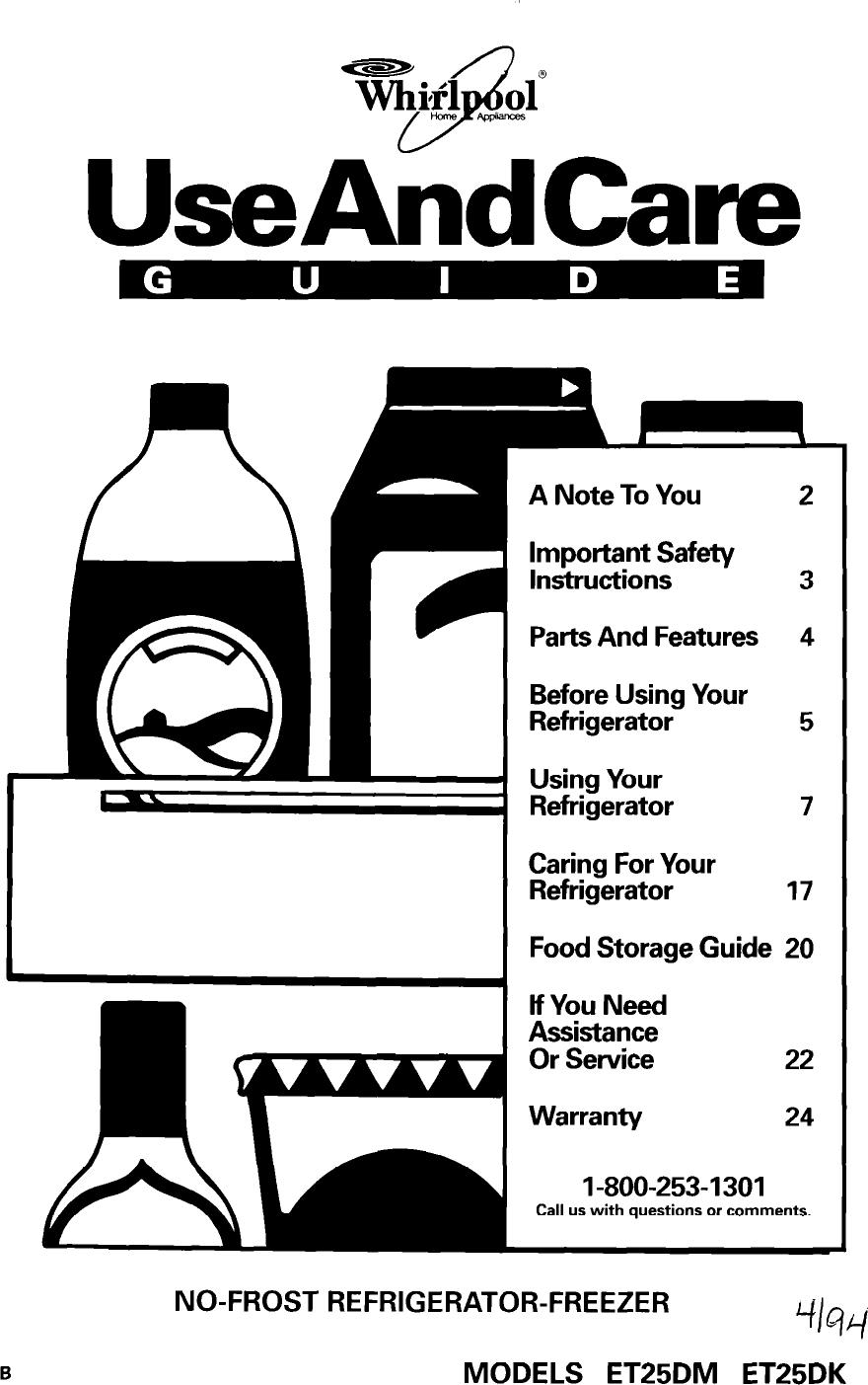 Whirlpool Et25Dk Users Manual