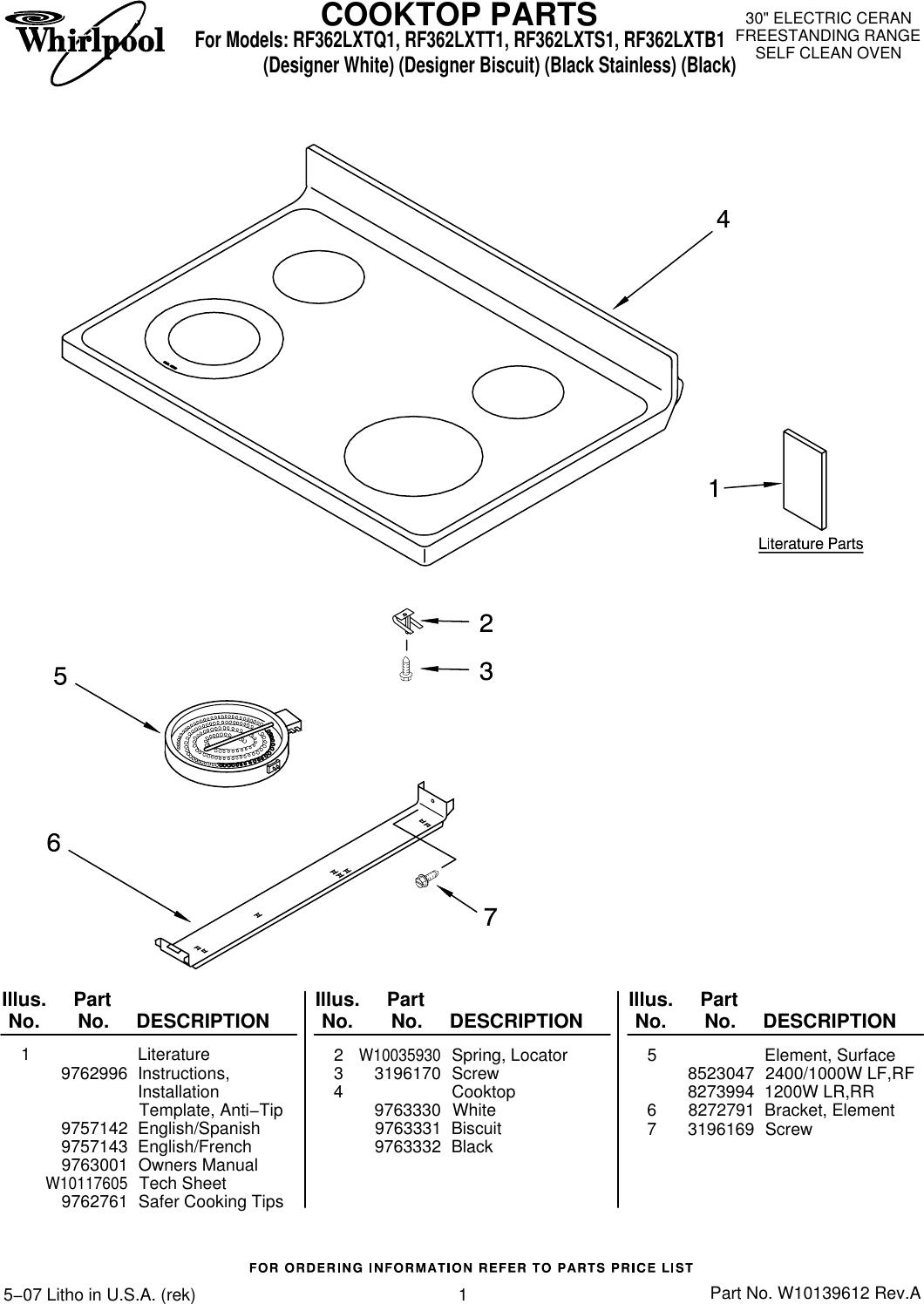 Whirlpool Rf362Lxt Users Manual