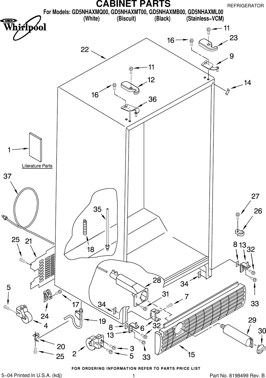 Whirlpool Refrigerator Gd5Nhaxmb00 Users Manual