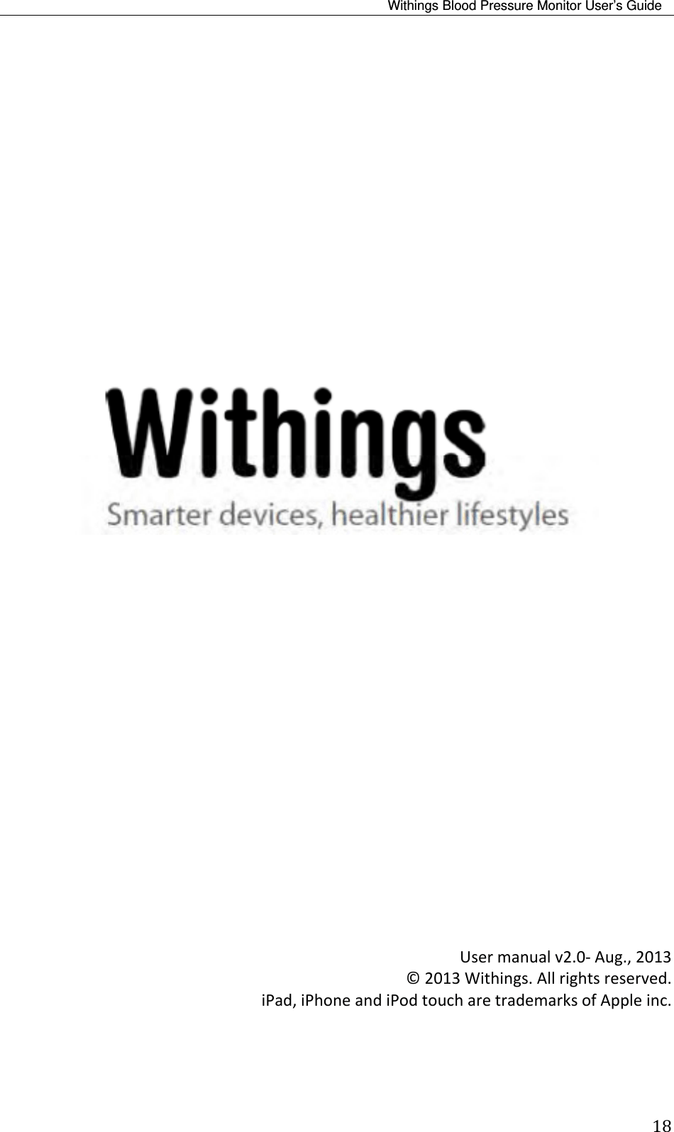 Withings WPM02 Blood Pressure Monitor User Manual 20130826