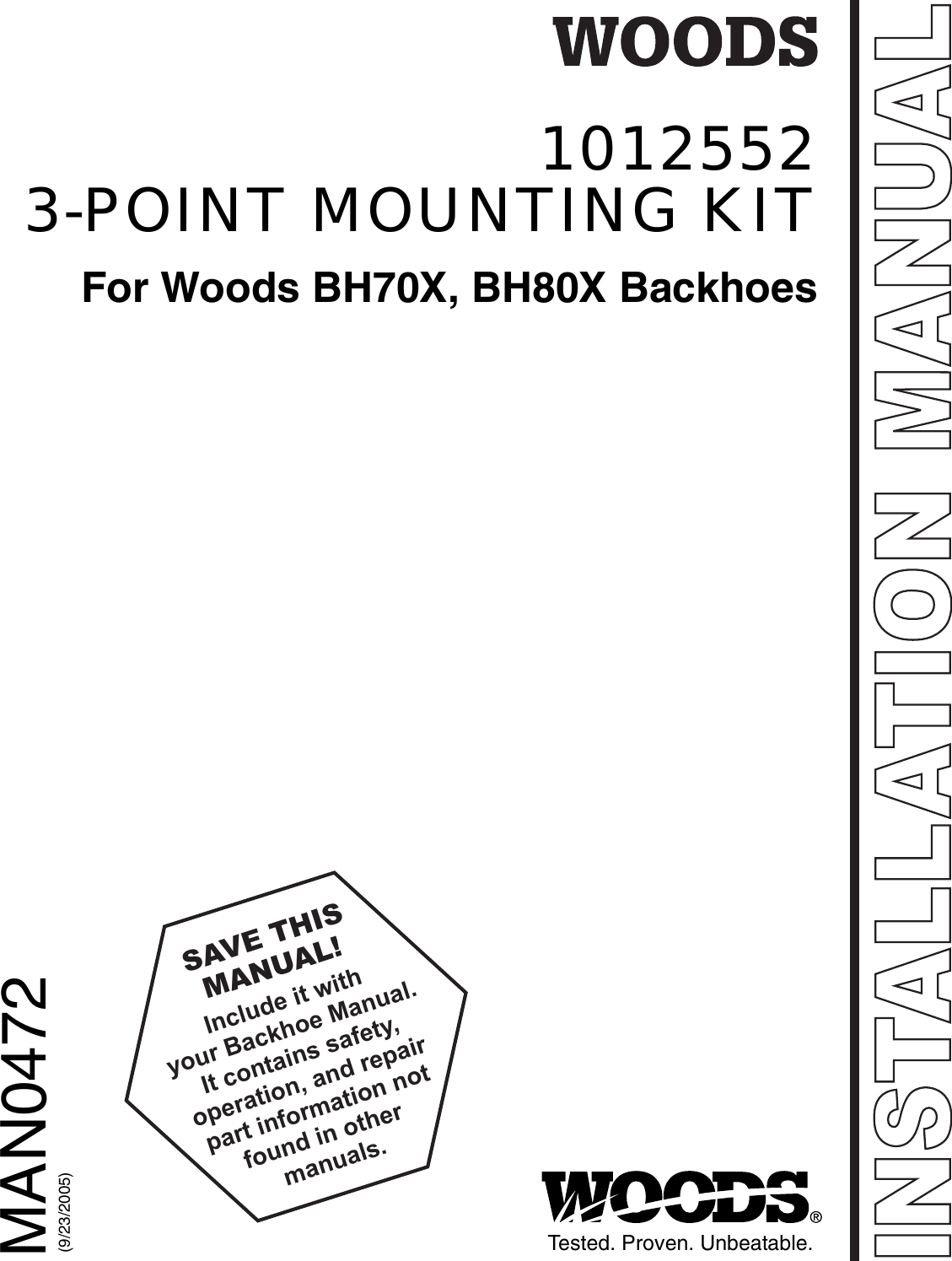 Woods Equipment Bh70X Users Manual 1012552 3 Point