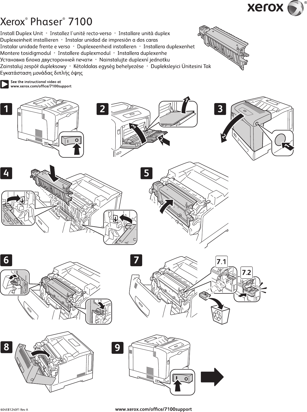 Xerox Phaser 7100 Users Manual Duplex Unit (install