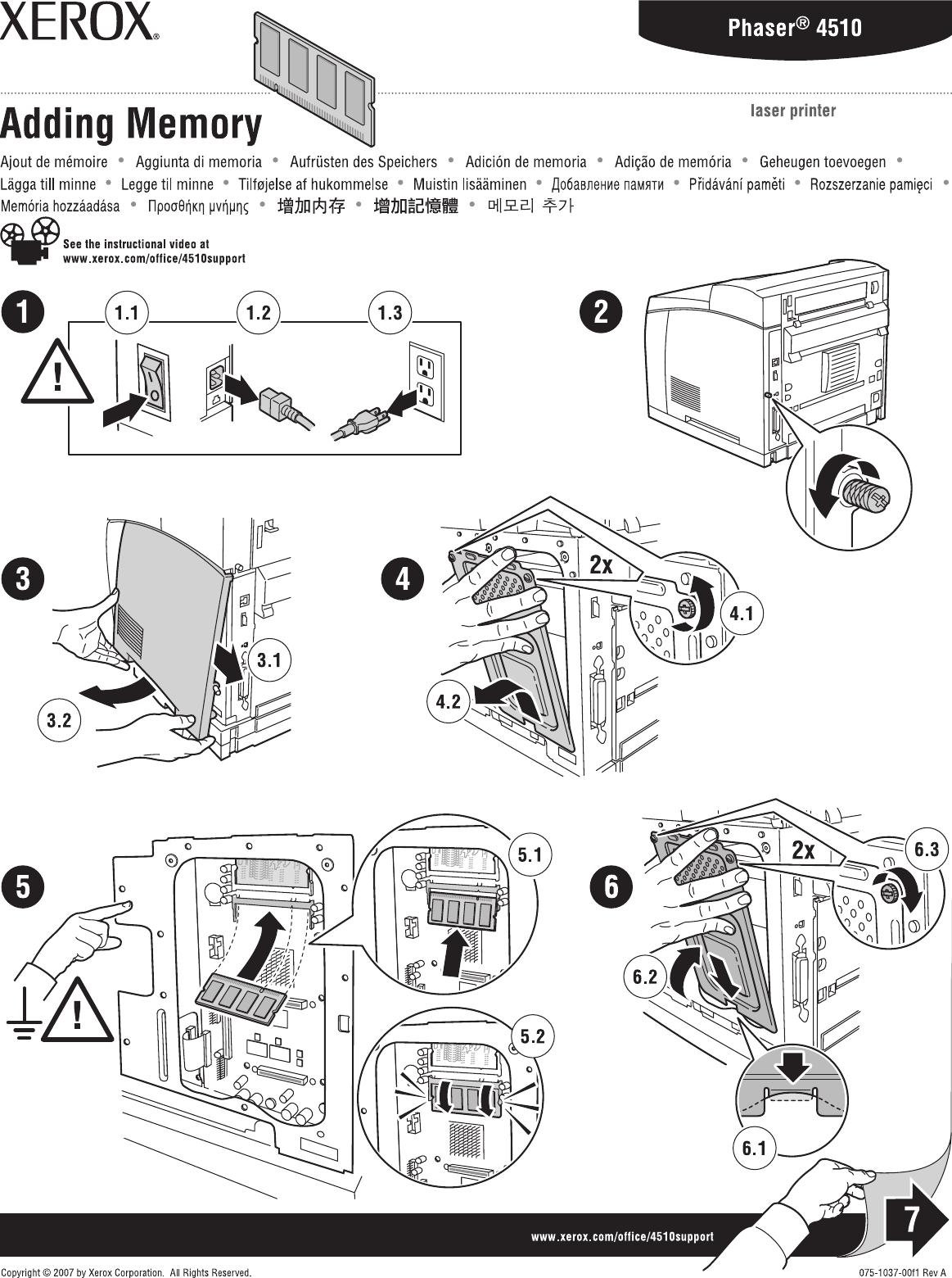 Xerox 4510 Duplex Unit, Adding Memory, Hard Drive, Flash
