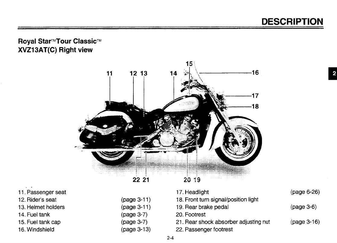 Yamaha 1998 Royal Star Tour Classic Owners Manual Lit116261123