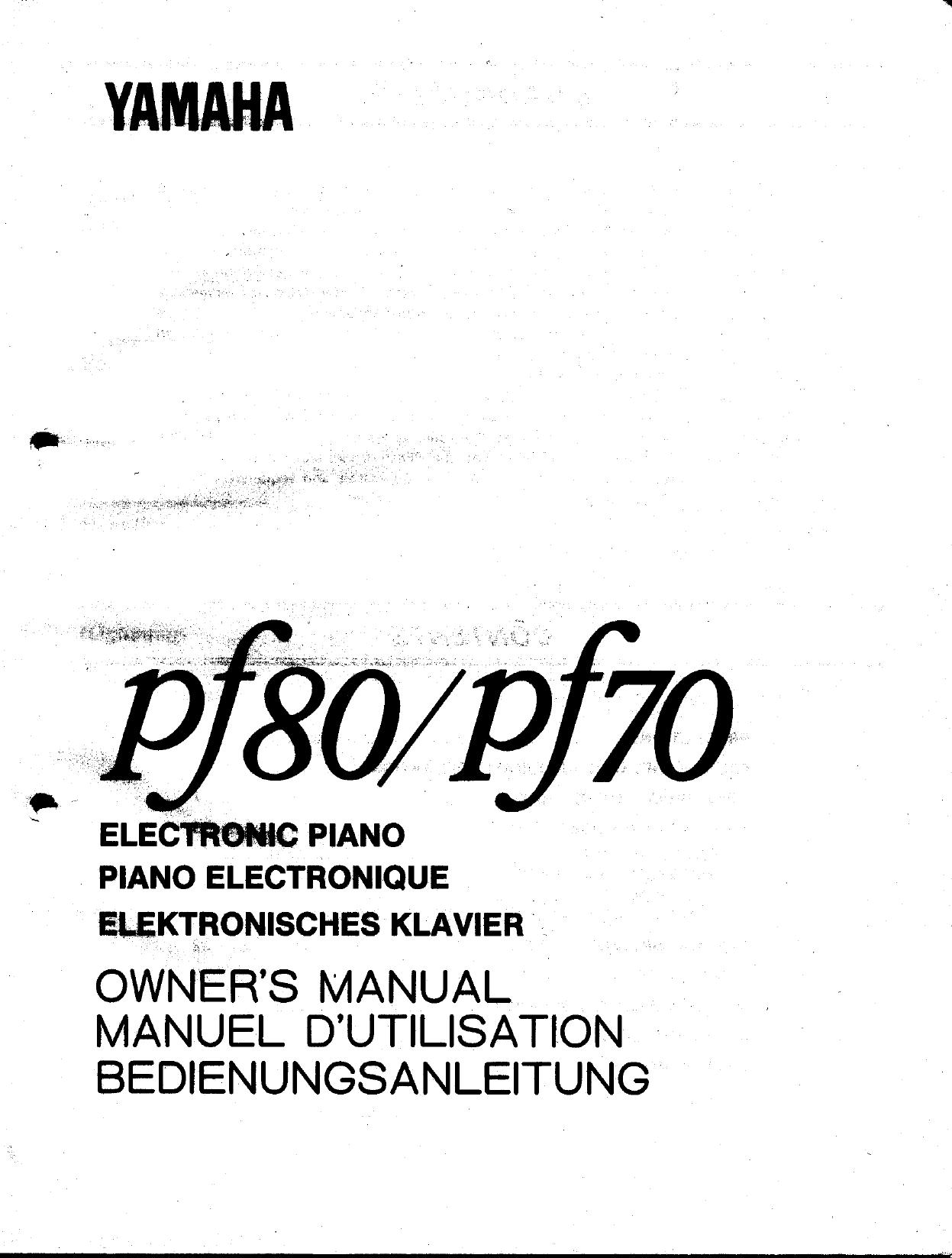 Yamaha Pf80/pf70 Owner's Manual (Image) PF80E