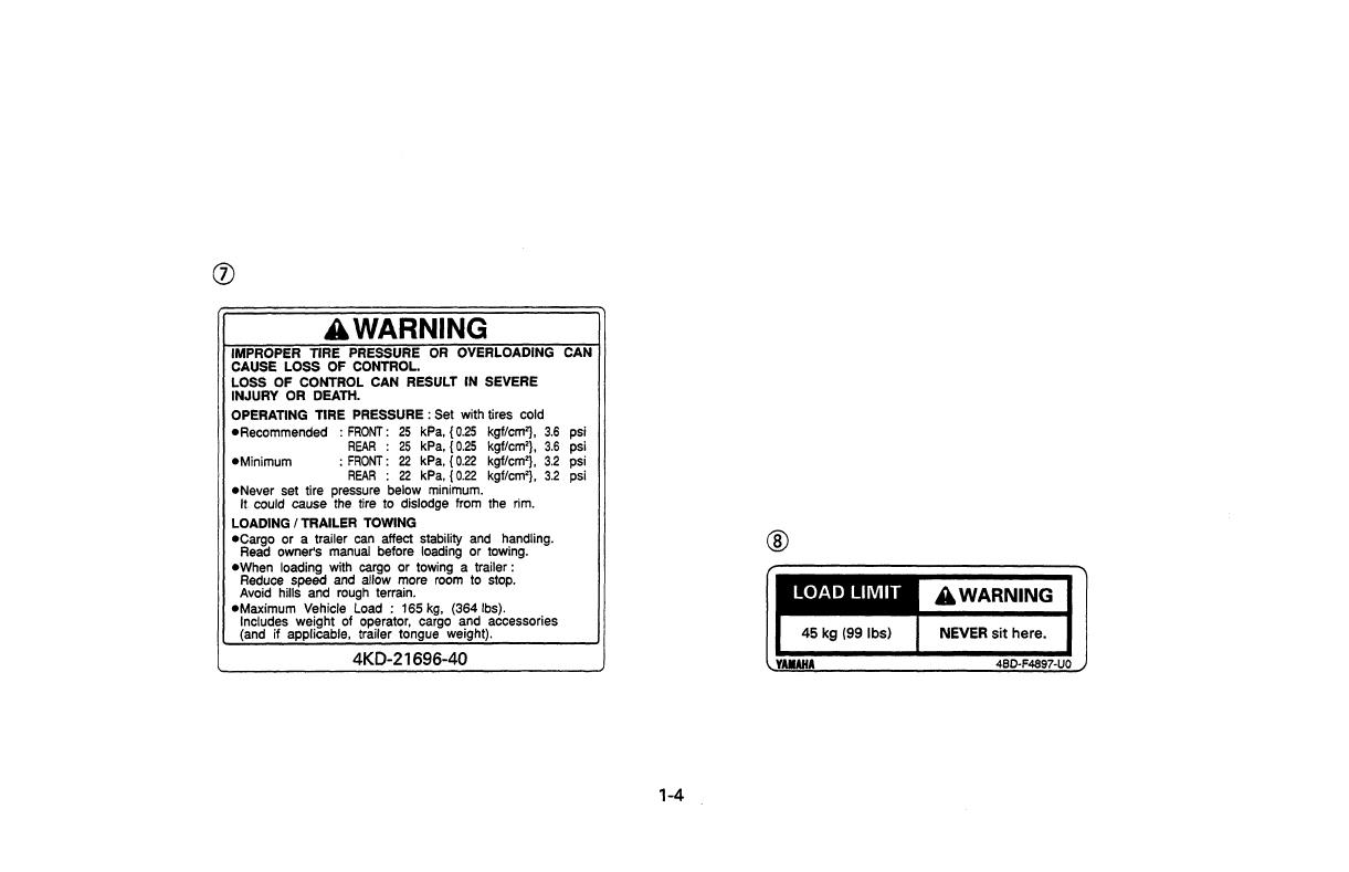 Yamaha YFB250FWL Timberwolf 250 User Manual To The