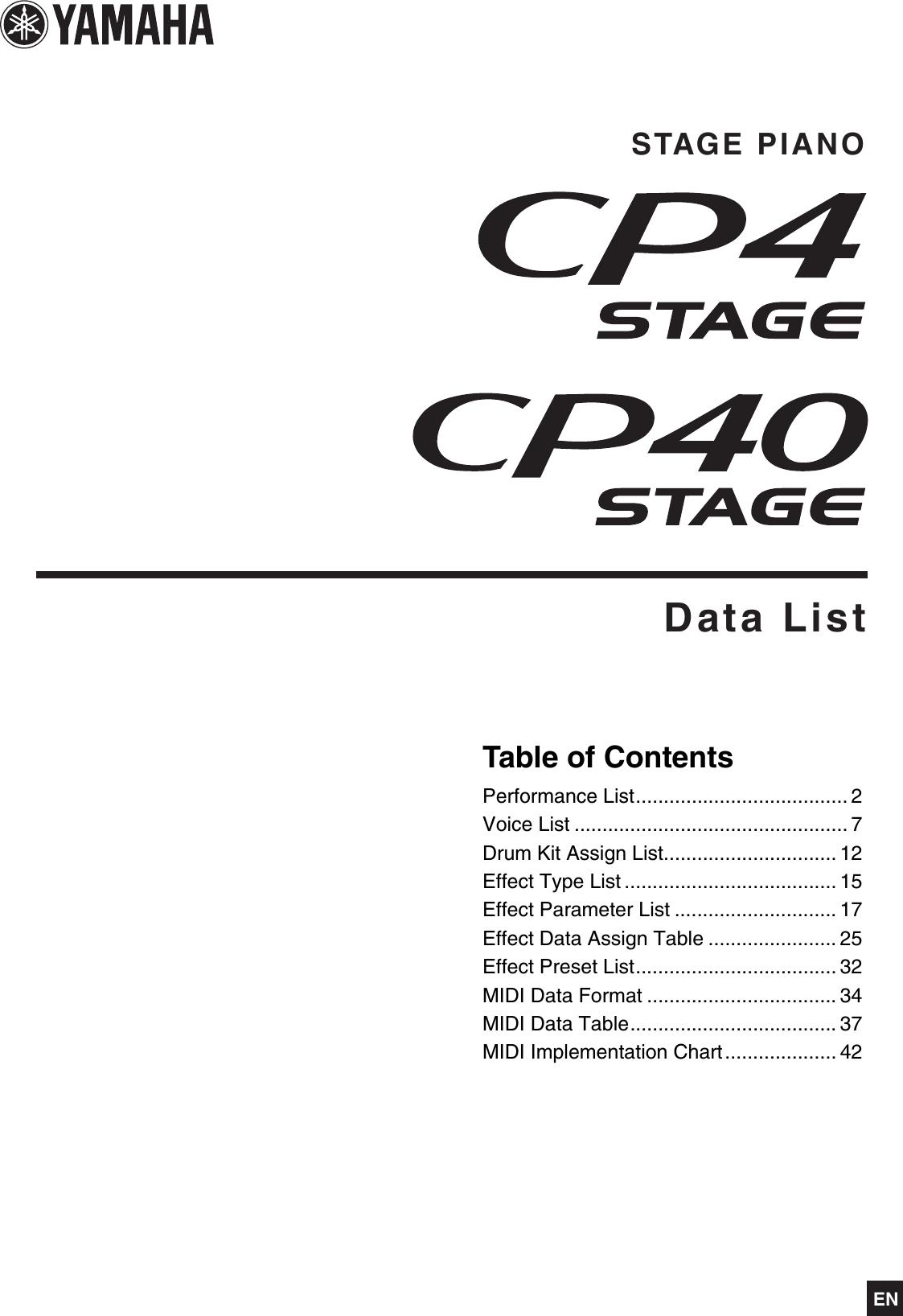 Yamaha CP4 STAGE/CP40 STAGE Data List / CP40 Cp4cp40 En Dl A0