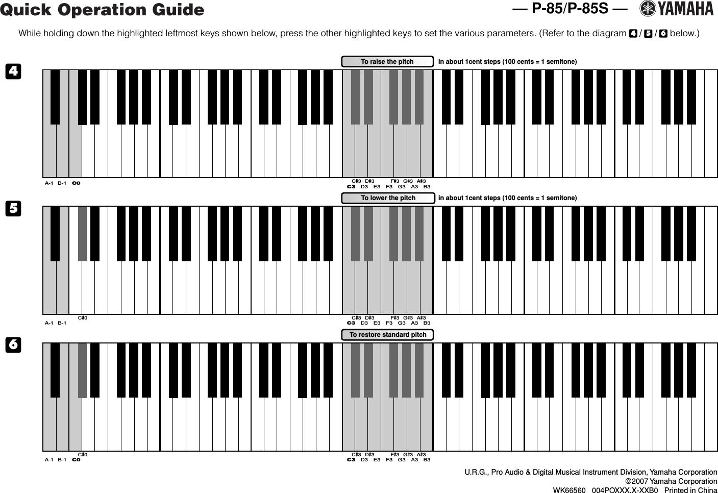 Yamaha P 85/P 85S Quick Operation Guide P85 En Qg B0